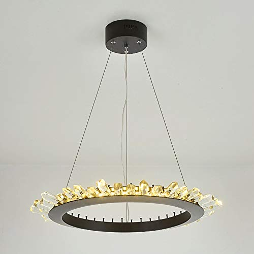 Luce Plafoniera Anillo negro Lámpara de techo de cristal de lujo europeo Villa Hotel Restaurante Sala de estar Luz tricolor 60 * 60 cm