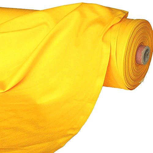TOLKO Baumwollstoff | 42 kräftige ÖkoTex Farben Baumwoll-Nesselstoff uni Kleiderstoff Dekostoff | Baumwolle Meterware 150cm breit | Vorhang-Stoff Bezugsstoff Webstoff 50cm (Gelb)