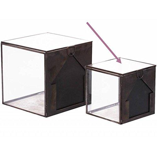 L'Héritier Du Temps Boite de Rangement Style Moderne Case Casier Cube Déco en Verre Transparent et Fer Gris Acier 14x14x14cm