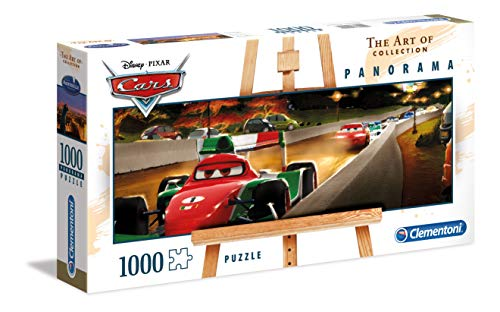 Clementoni 39488 The Art of Disney Puzzle Panorama, Cars, 1000unidades, Multicolor