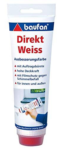 Baufan Direkt Ausbesserungsfarbe, Weiß mit Auftragsbürste, 250 ml