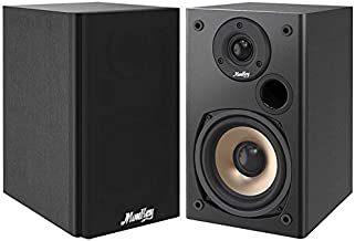 Moukey Passive Bookshelf Speakers for Home Stereo System - Pair, 100 Watts Peak Power Home Theater Speakers - 2.0 Near Field Audio Speakers, 5-Inch Wooden Enclosure   Wall-Mountable  M20-1