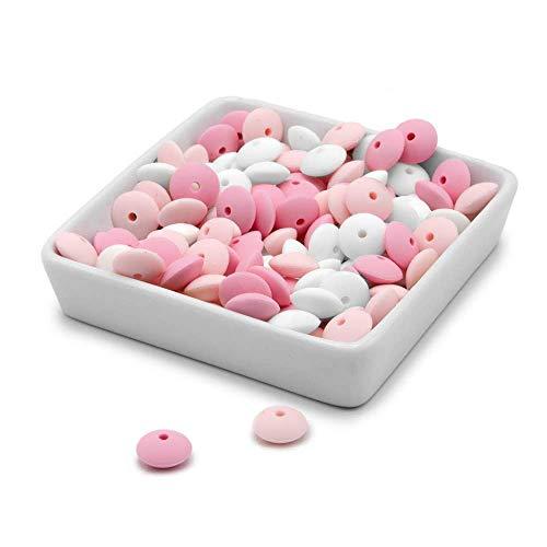 RUBY - 60 12mm Cuentas de silicona, piezas de silicona alimentaria para montar chupeteros/collares/mordedor lactancia combinados (Rosado, Ábacos)