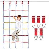 Odoland Red de Escalada para Niños 120 x 200 cm, Escalera de Cuerda para Niños al Aire Libre con 5 Hebillas Cuadradas y 5 Anillos Triangulares