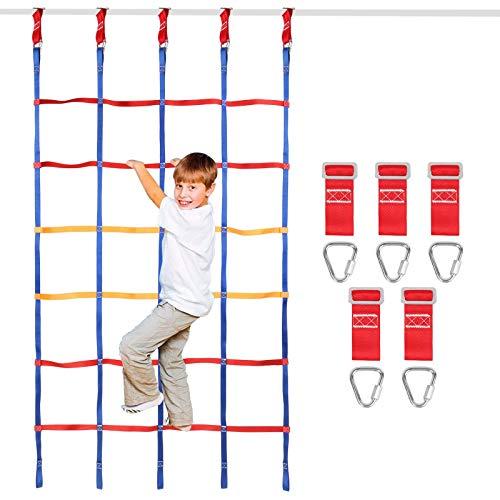 Odoland Kletternetz Kingder Ninja Zubehör für 120 X 200 cm Slacklines mit Klettergerüst Kletternetz Strickleiter für Kinde oder Anfänger