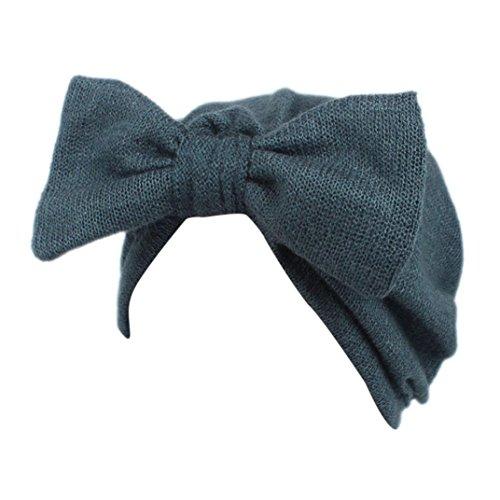 Fulltime® Enfants bébé filles tricot chapeau bonnet turban tête Wrap Cap bouchon de pile (Bleu)