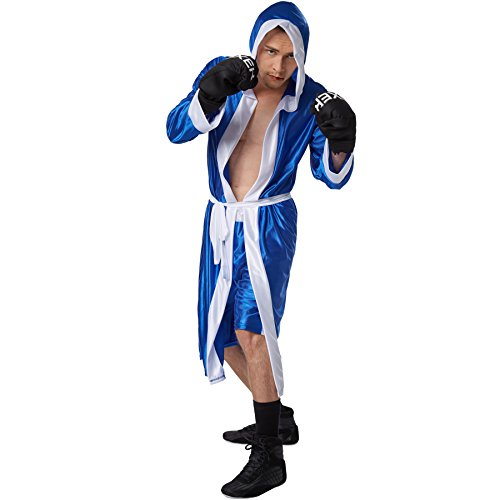 dressforfun Disfraz de Boxeador para Hombre | Pantalones Cortos con Cintura elástica | Albornoz de Boxeador con Capucha | Incl. Guantes de Boxeo y cinturón (Azul S | No. 301829)
