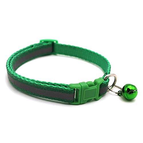LWXFXBH Collar de Mascotas Reflective Pet Bell Colllar Tamaño Ajustable Adecuado para Gato y Cachorro Suministros para Mascotas Tipo de Collar básico (Color : Grass Green, Size : 19 32cm)