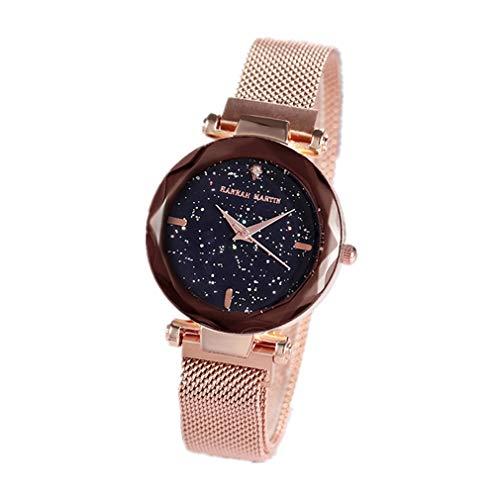 Damen Uhren, L\'ananas Frauen Mode Diamant schneiden Sternenhimmel Zifferblatt Mesh Riemen Armband Armbanduhr Bracelet Women Watches (Gold)