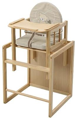 Trona Combi roba, trona con bandeja transformable en silla y mesa independientes, trona infantil en madera natural, asiento tapizado en diseño 'Lovely Bear'