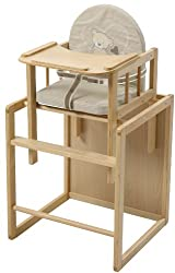 roba combination highchair, highchair with dining board convertible to table & chair, highchair wood natural, seat upholstered'Liebhab Bär '