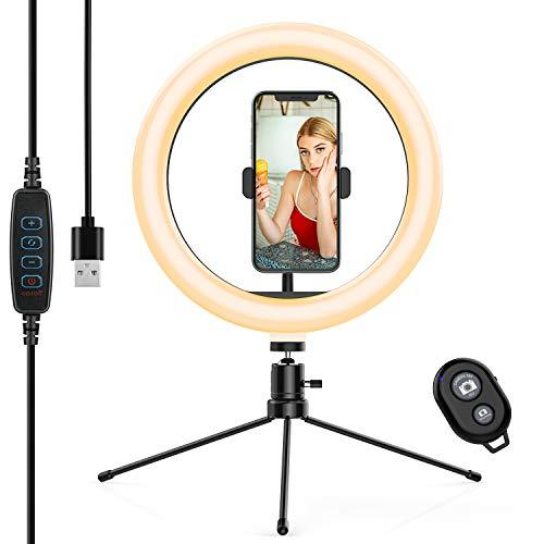 Anozer 10,2'' Selfie LED Ringlicht Stativ (Metall) mit Fernauslöser, 6500K Ringleuchte dimmbar Tisch Ring licht 3 Farben 10 Helligkeit, Live Licht für YouTube, Live-Stream, Porträt, Tiktok, Foto usw.