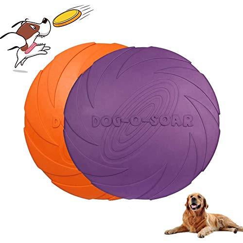 Perros interactivos Frisbee Juguete de Perro de Goma Frisbee Frisbee Juguete de Perro Disco Volador para Perros para Adiestramiento de Perros Juguetes de Tiro Captura y Juego(2 Piezas)