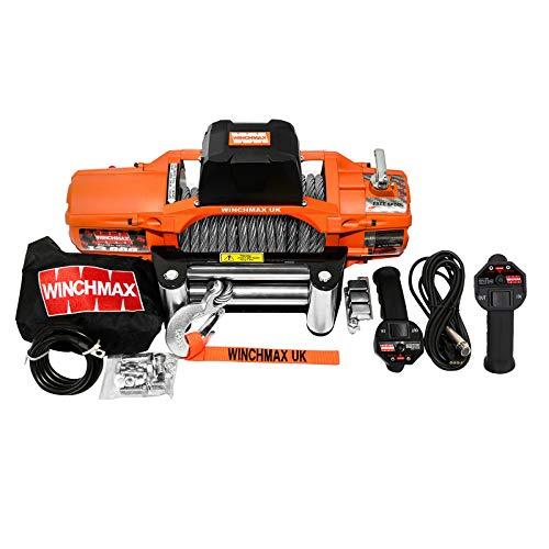 Winchmax Cabrestante eléctrico original naranja de 24 V, doble mando a distancia inalámbrico