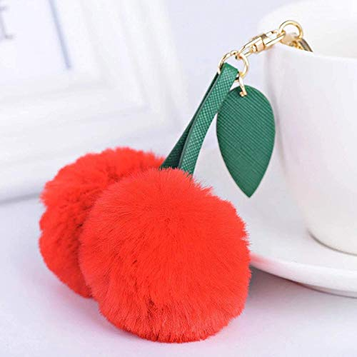 Pxjdh Niedliche Kirsche künstliche Kaninchenfell Ball Schlüsselbund Schlüsselbund Pompon Blatt Handtasche Anhänger Auto Schlüsselanhänger Ring