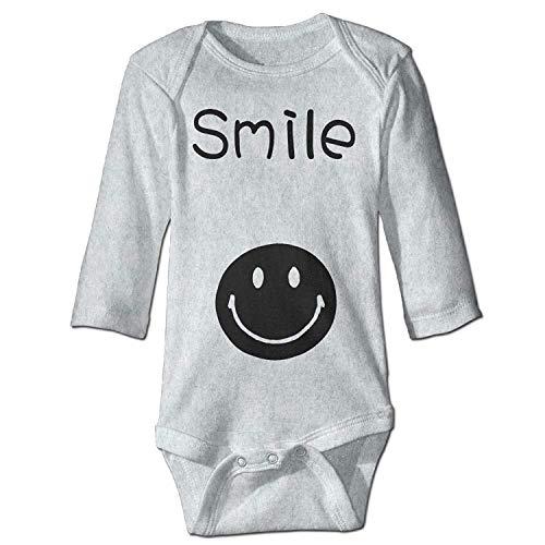 Unisex Toddler Bodysuits Smile Baby Babysuit Long Sleeve Jumpsuit Sunsuit Outfit Ash