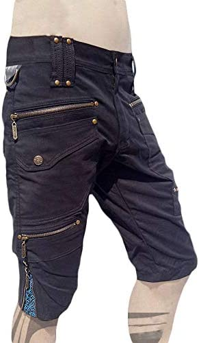 xPRO Black Cargo Mens Pants Shorts Knee Hight Tactical Functional Tribal Trousers