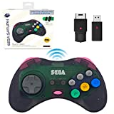 Retro-Bit Official Sega Saturn 2.4 GHz Wireless Controller 8-Button Arcade Pad for Sega Saturn, Sega Genesis Mini, Switch, PS3, PC, Mac - Includes 2 Receivers & Storage Case (Slate Gray)