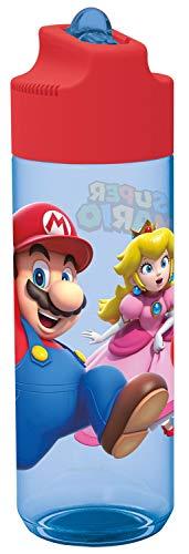 POS p:os 33165 - Botella de plástico con diseño de Super Mario, sin BPA ni ftalatos, Capacidad de 540 ml, Ideal para Viajes, guarderías y Deportes, para niños y niñas, Multicolor
