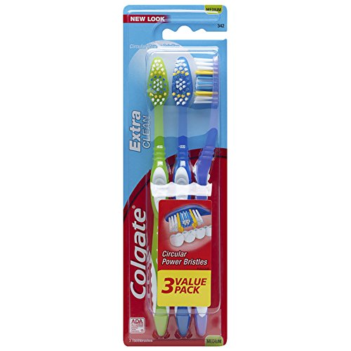 Colgate Extra Clean Full Head Toothbrush, Medium - 3 Count