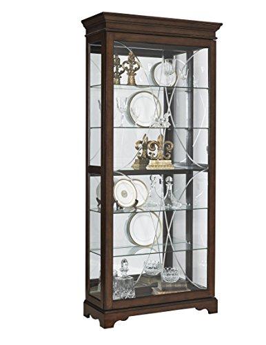 "Pulaski Harley Diamond Etched Sliding Door Curio Display Cabinet, 36.5"" x 14.75"" x 81.75"", Brown"