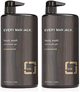 Every Man Jack Men's Body Wash - Sandalwood | 33.8-ounce Twin Pack - 2 Bottles Included | Naturally Derived, Parabens-free...