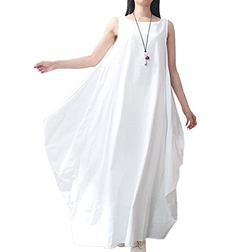 Romacci Women Maxi Sleeveless Dress Plus Size Pockets Loose Swing Tank Tunic Dress White