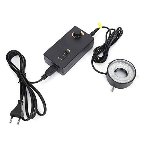 Anillo de luz para microscopio con adaptador Fuente de luz ajustable de brillo LED Anillo de luz para Video Microscopios Instrumento óptico(EU plug)