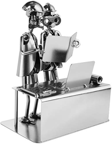 BRUBAKER Screw Man Engineer - Figura de Hierro Hecha a Mano Metal Man Technician - Figura de Metal Idea de Regalo para Ingenieros