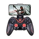GAOXIAOMEI T3 Bluetooth Wireless Game Controller PC Gamepad Joystick, Turbo de Doble vibración y Botones de Disparo para iOS Android Celular Windows/TV Box/PS3/Tablet,A