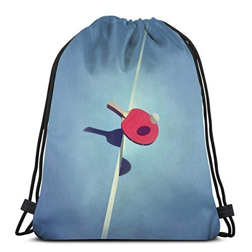 Lsjuee Classic Drawstring Bag, Red Table Tennis Bat Gym Mochila Bolsas de hombro Bolsa de almacenamiento deportiva para hombre Mujer