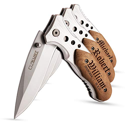 Personalized Pocket Knife Engraved for Men - Set of 3 - Tactical Assisted Opening Knives w/ Clip EDC for Dad Gifts, Boyfriend, Groomsmen, Anniversary, Wedding, Valentines Day Gift for Him