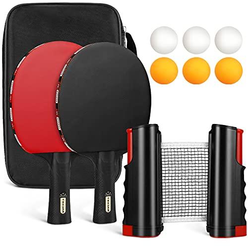 Tencoz Set da Ping Pong con Rete, Racchette da Ping Pong Set con 2 Racchette, 6 Palle e 1 Borsa, Tennis da Tavolo Ping Pang Set per Allenatori, Amatori, Principianti, Esperti