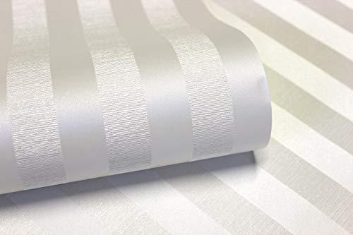 Grandeco CR4006 Vliestapete Streifen seidenglanz Optik gestreift creme weiß