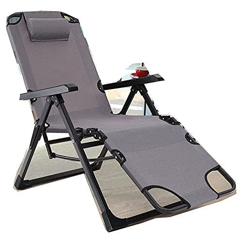 FVGBHN Tumbona reclinable plegable, diseño de rayas, color gris