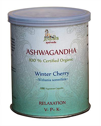 ASHWAGANDHA (Withania somnifera) BIO 108 gélules (500mg) - Plante Ayurvédique Traditionnelle pour la Détente