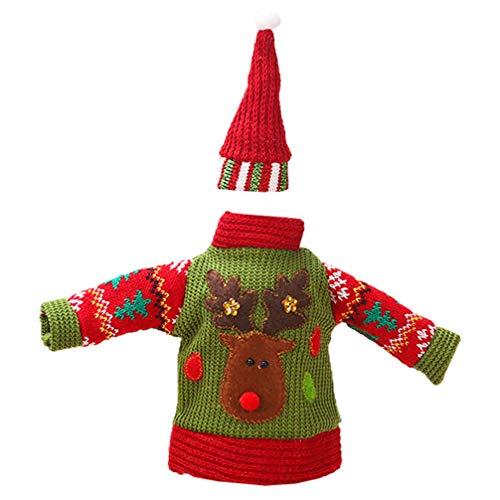 ABOOFAN 1 Juego de Funda Protectora para Botella de Vino Tejido de Lana Suéter Cubierta de Sombrero Decoración para Decoraciones Navideñas (Ciervo Milu)