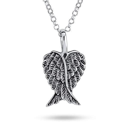 Espiritual amuleto guardián ángel ala pluma corazón collar para las mujeres para adolescentes antiguo .925 grabado de plata de ley SM