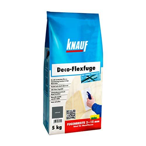 Knauf Deco-Flexfuge – Wand Fliesen-Mörtel auf Zement-Basis: pflegeleicht dank Knauf Perleffekt, schnell-härtend, passend zur Fliesenfarbe, Anthrazit, 5-kg