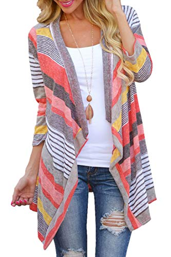 Women's 3/4 Sleeve Cardigans Striped Printed Open Front Knit Draped Kimono Loose Cardigan Red M