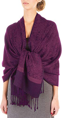 Sakkas 70' x 28'Paisley Self-Design scialle/Wrap/Stole - DarkPurple