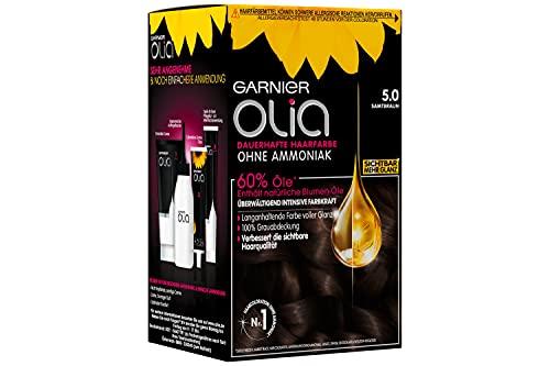 Garnier Olia Haar Coloration Samtbraun 5, Färbung für Haare enthält 60% Blumen-Öle, 3er Pack (3 x 1 Stück)