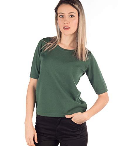 Textiles Campillo Jersey CAÑA DE AZUCAR Verde, Manga al Codo, Cuello Redondo, de Lana Merino y Fabricado en España (XXXL)