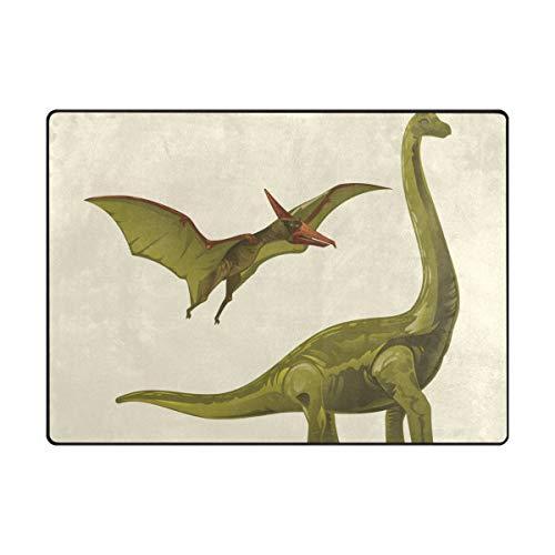DEZIRO Tapis de Sol antidérapant, Brontosaure et Ptérodactyle, pour extérieur, Polyester, 1, 80 x 58 inch