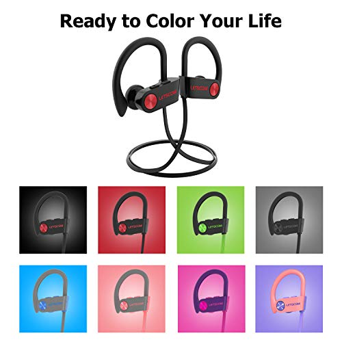 Bluetooth Headphones, LETSCOM Wireless Earbuds V5.0 IPX7 Waterproof Noise Cancelling Headsets, Richer Bass