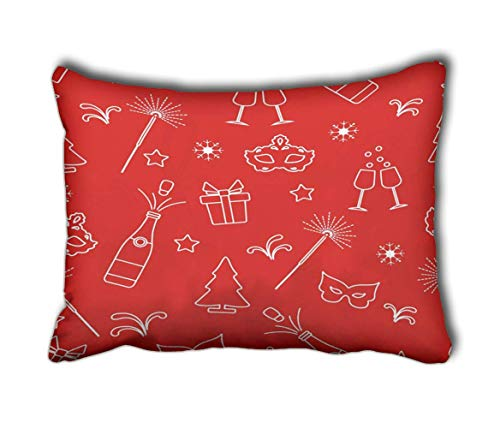 JONINOT Pillow Case New Year Symbols Gifts Fireworks Bottle and Glasses Champagne Christmas Decorative Rectangle 20inch*30inch