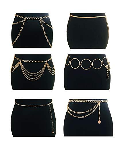 Tornito 6Pcs Multilayer Metal Hoop Link Waist Chain Belt Waistbands Tassel Belly Bikini Body Thigh Hip Jewelry Side Pant Chain Belt for Women