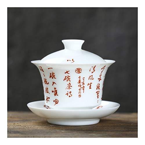 Xiang Ye All Hand Tureen Siete Poema manuscrito a mano de cerámica Tureen Tureen Té de calidad blanco