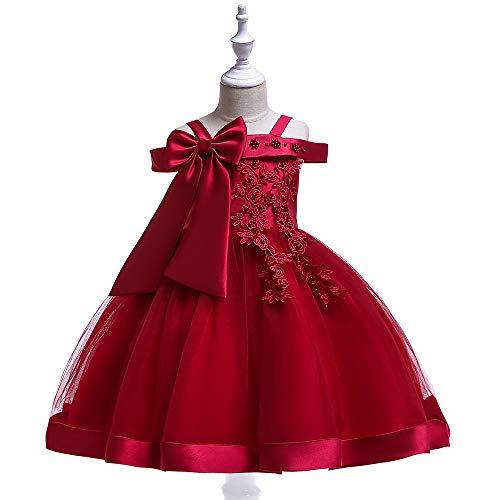 Hizeen Baby-Elegante prinsesjurk, geborduurde bloem, voor feestjes, bruiloft, feest, doop, jurken
