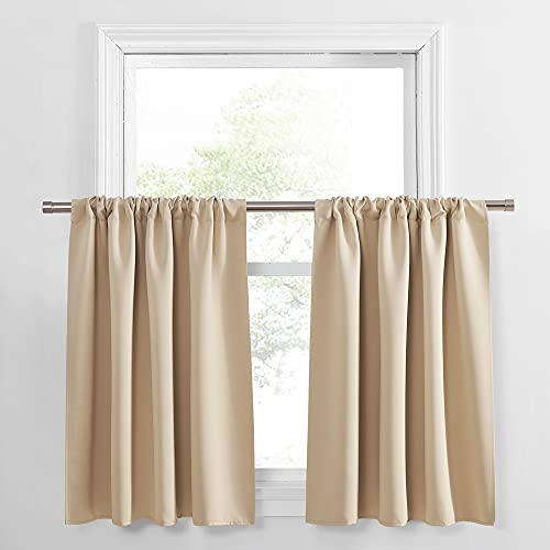 PONY DANCE Kitchen Curtains 36 - Tiers Valances Blackout Window Drapes Thermal Insulated Blinds Matching with Curtain Panels, 42 Width x 36 Length, Biscotti Beige, Set of 2